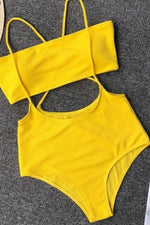 Hallow Out High Cut Swimsuit Yellow Swimwear