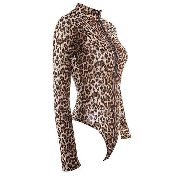 Long sleeve leopard print zip up Bodysuit