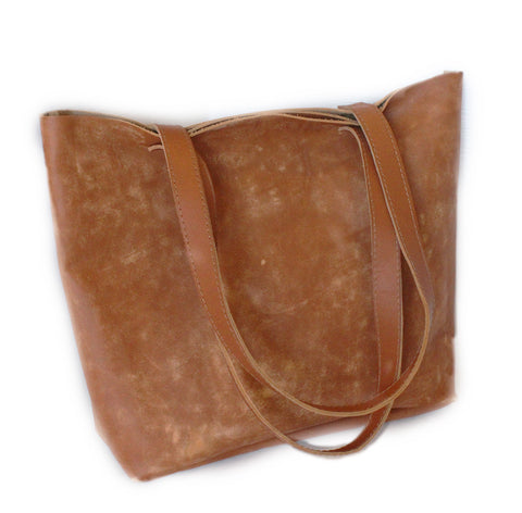Lock Stock Co.. 100% Genuine leather ladies Tote bag - Buffed camel