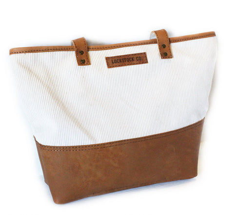 Lock Stock 100% genuine leather  & corduroy Tote bag