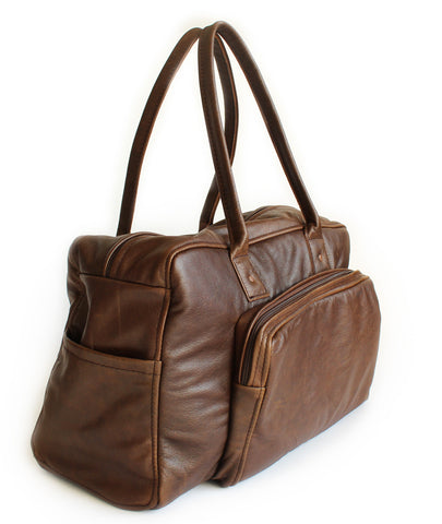 Lock Stock Co. Genuine leather duffel bag - Whiskey brown