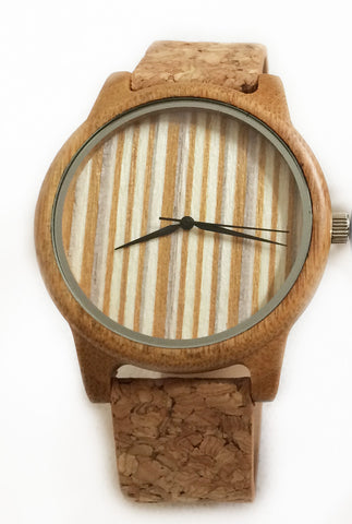 Bamboo watch with Cork strap - stripe face
