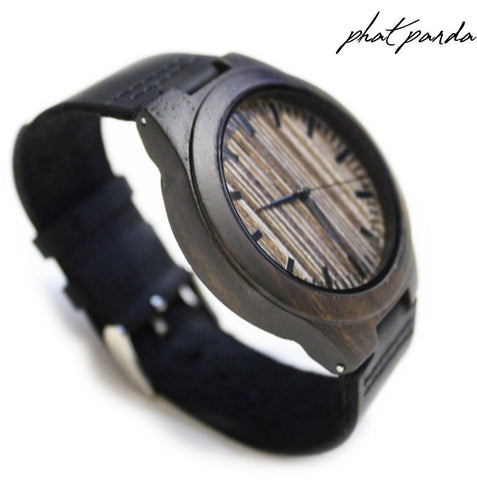 Black sandal wood watch - soft leather strap (Unisex)