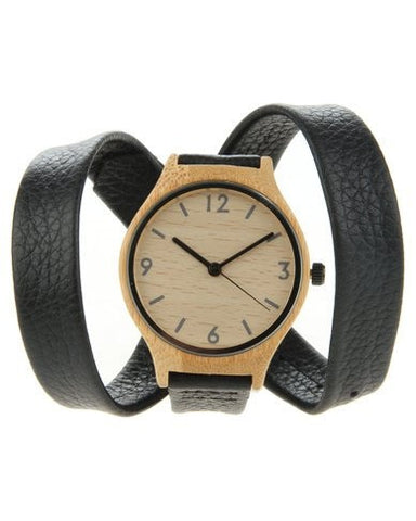 Bamboo Vintage Watch- Black Leather Gladiator Style (Ladies)