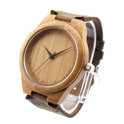 Bamboo watch brown face with brown suede leather strap (Unisex)