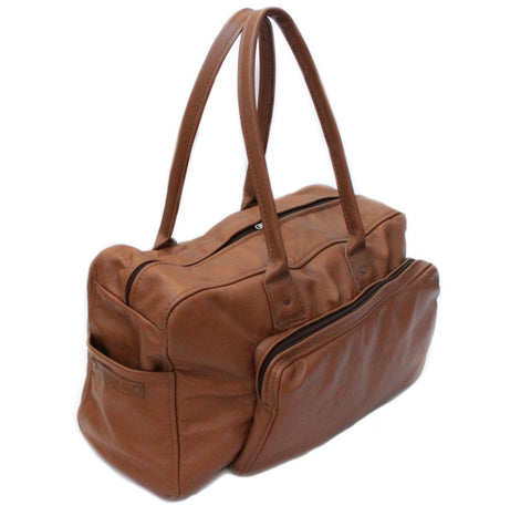 Lock Stock Co. 100% Genuine Soft Leather Duffel Bag - Camel Tan