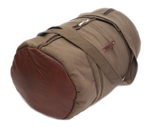 Lock Stock Co. Bull denim and genuine leather cylinder duffel - Camo