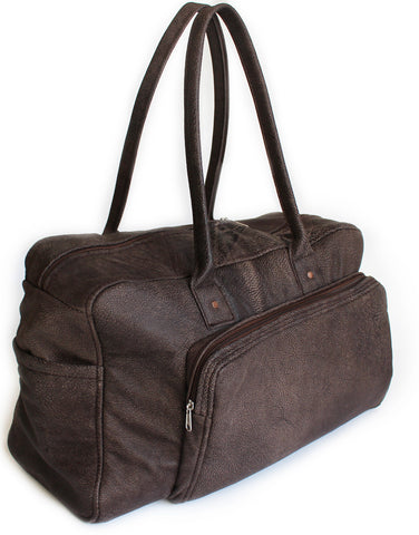 Lock Stock Co Genuine leather duffel bag - Charcoal brown