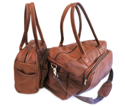 LOCK STOCK CO. 100% Genuine Leather Bag Travel set - Cinnamon brown (extra strap)