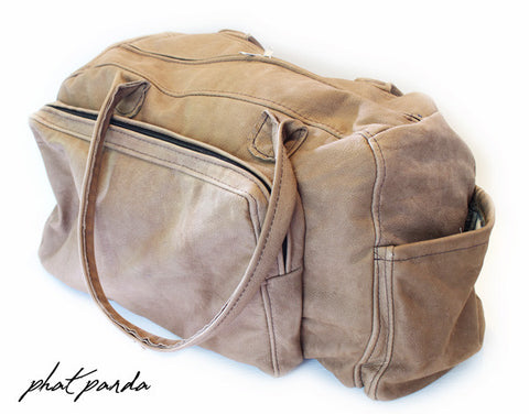 Phat Panda 100% Genuine Soft Leather Duffel Bag - Cream