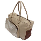 Lock Stock 100% Beige Bull Denim and Genuine Leather Duffel Bag - Floral