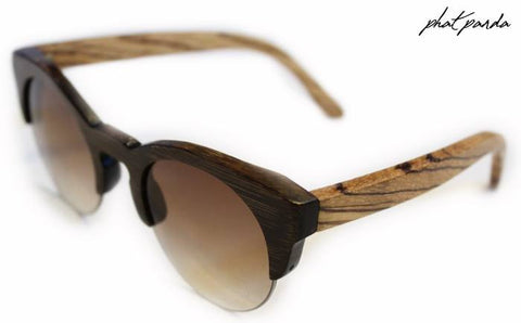 Keyhole Half Rim ladies sunglasses -Two tone bamboo