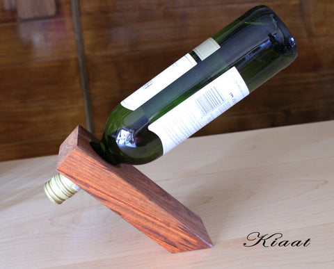 'Magic' wine bottle holder - KIAAT WOOD