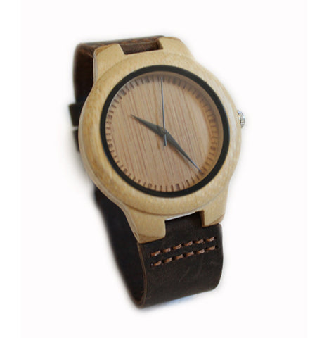 Bamboo watch with dark brown suede leather strap - Ladies