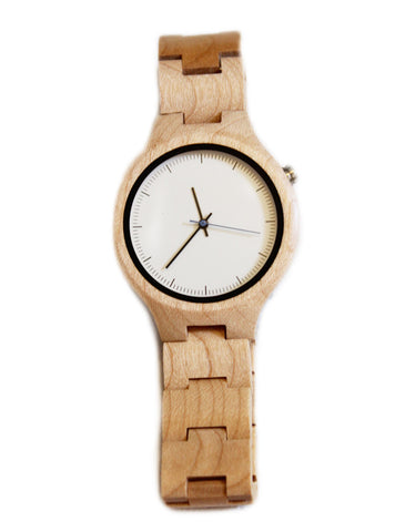Maple wood watch ladies - white face