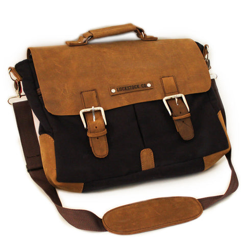 Lock Stock Co. Laptop/ Messenger Bag - 100% genuine leather & bull denim combo