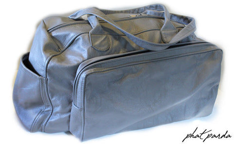 Phat Panda 100% Genuine Soft Leather Duffel Bag - Grey