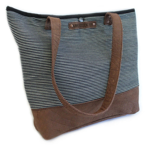 Lock Stock Co. Pin stripe material and genuine leather tote bag