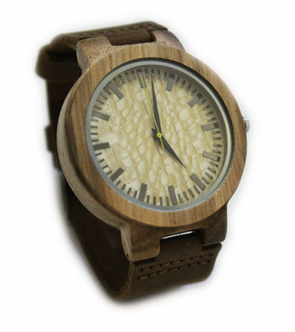 NEW! Zebrawood watch with brown suede leather strap - Unisex