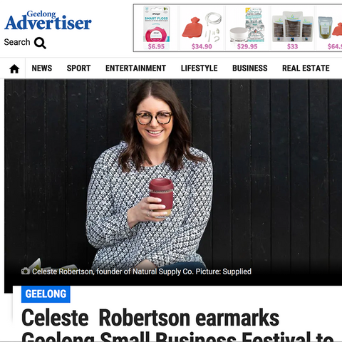 Celeste Robertson from Natural Supply Co featured in The Geelong Addy