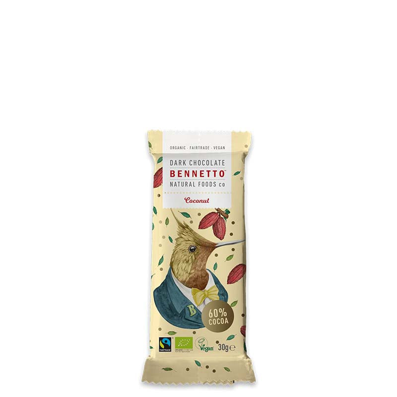 Bennetto Natural Foods Organic 60% Dark Chocolate with Coconut online at Natural Supply Co
