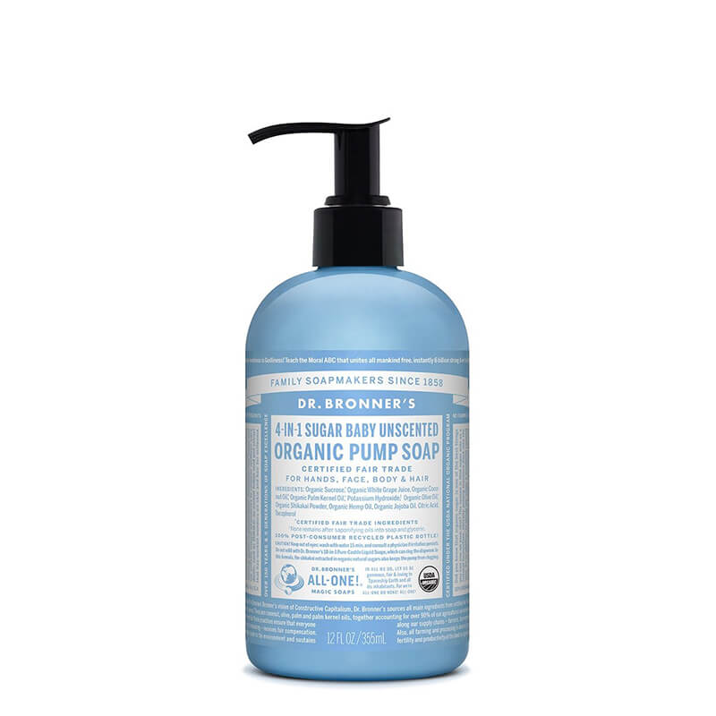 Dr Bronner's 4-in-1 Sugar Organic Pump Soap - Baby Unscented