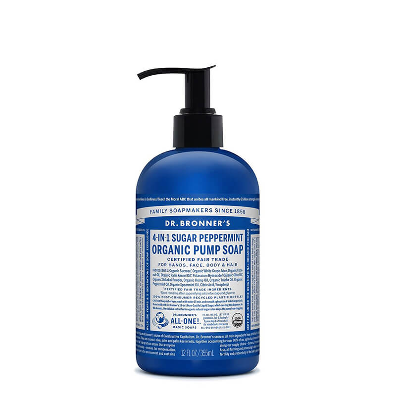 Dr Bronner's 4-in-1 Sugar Organic Pump Soap - Peppermint
