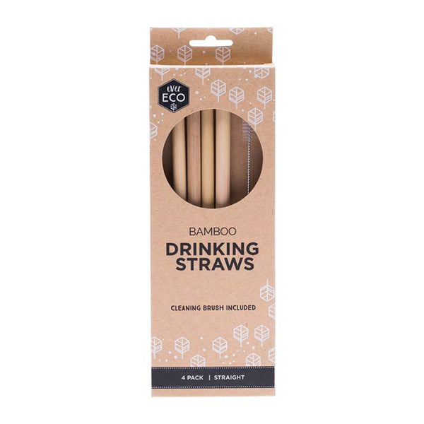 Ever Eco Bamboo Straws (Straight) - 4 Pack + brush online Australia
