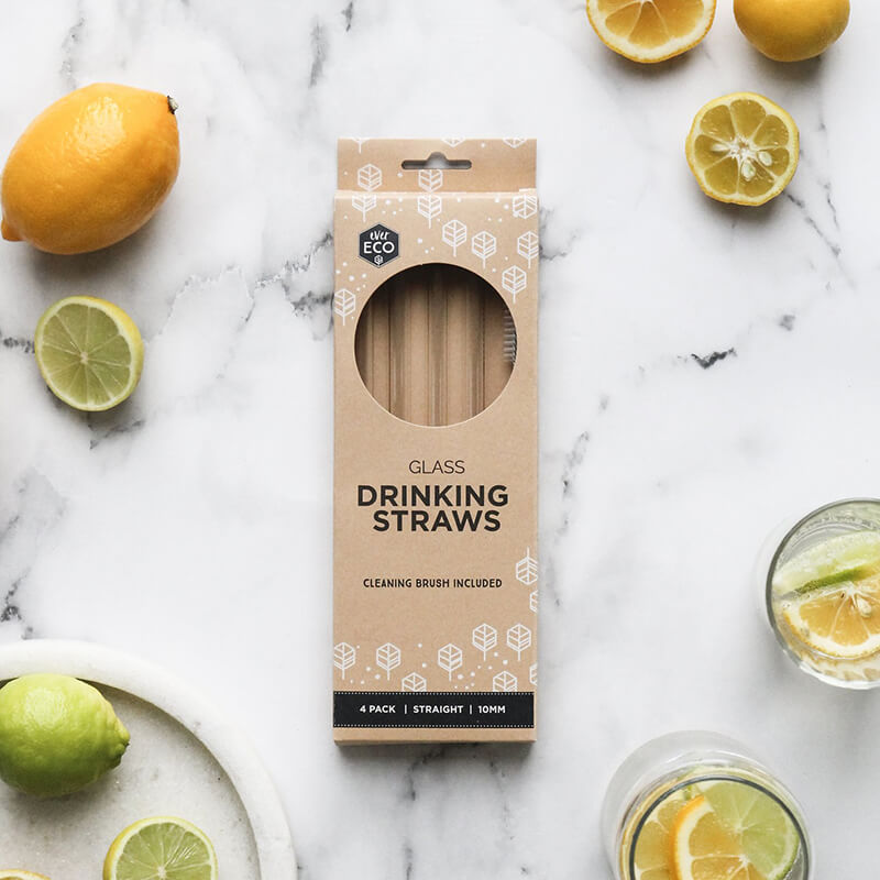 Ever Eco Glass Straws (Straight) - 4 Pack + brush - Natural Supply Co