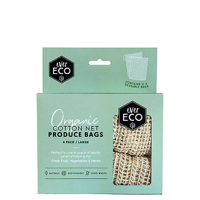 Ever Eco Organic Cotton Net Produce Bags - 4 pack at Natural Supply Co