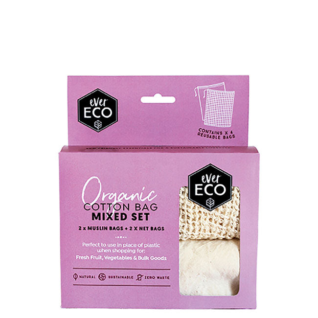 Ever Eco Organic Cotton Produce Bags - Mixed Set - 4 pack at Natural Supply Co
