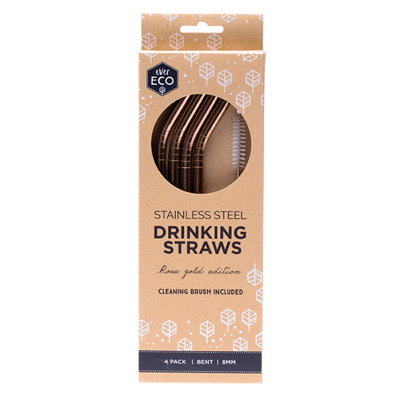 Ever Eco Rose Gold Straws (Bent) - 4 Pack + brush at Natural Supply Co