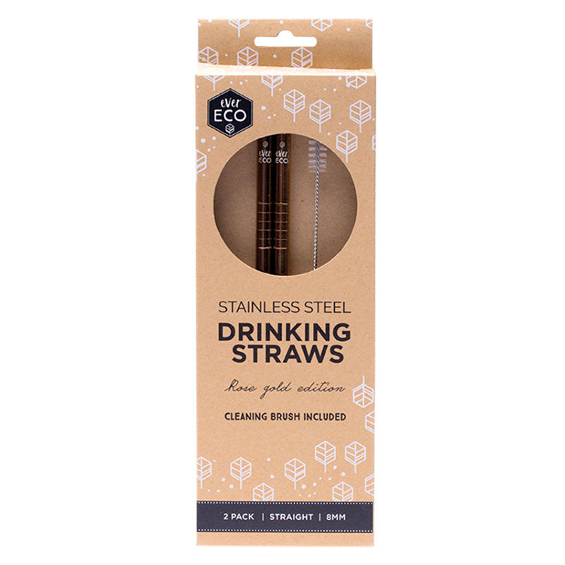 Ever Eco Rose Gold Straws (Straight) - 2 Pack + brush - Natural Supply Co