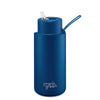 Frank Green Ceramic Reusable Bottle (1 litre) - Straw Lid Deep Ocean Blue