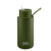 Frank Green Ceramic Reusable Bottle (1 litre) - Straw Lid Khaki