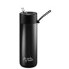Frank Green Ceramic Reusable Bottle (595ml) Straw Lid Lid Black