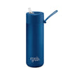 Frank Green Ceramic Reusable Bottle (595ml) Straw Lid Lid Deep Ocean Blue