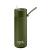 Frank Green Ceramic Reusable Bottle (595ml) Straw Lid Lid Khaki