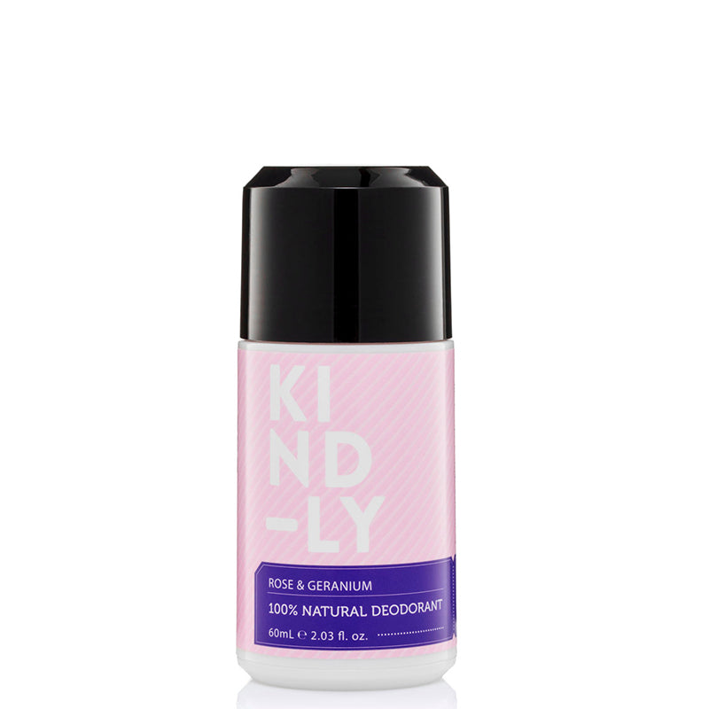 KIND-LY 100% Natural Deodorant Roll-On - Rose & Geranium - Natural Supply Co