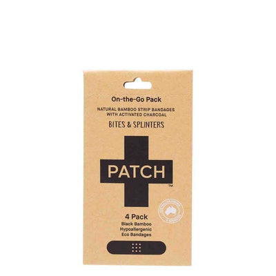 PATCH Charcoal Black Adhesive Bamboo Bandages - 4 pack