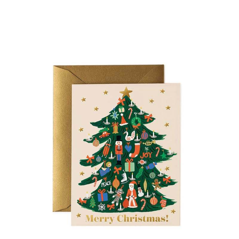 Rifle Paper Co Trimmed Tree Christmas Card