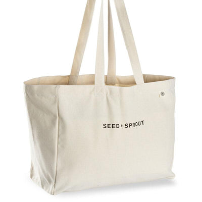 Seed & Sprout Organic Pocket Tote Shopping Bag - Natural Supply Co