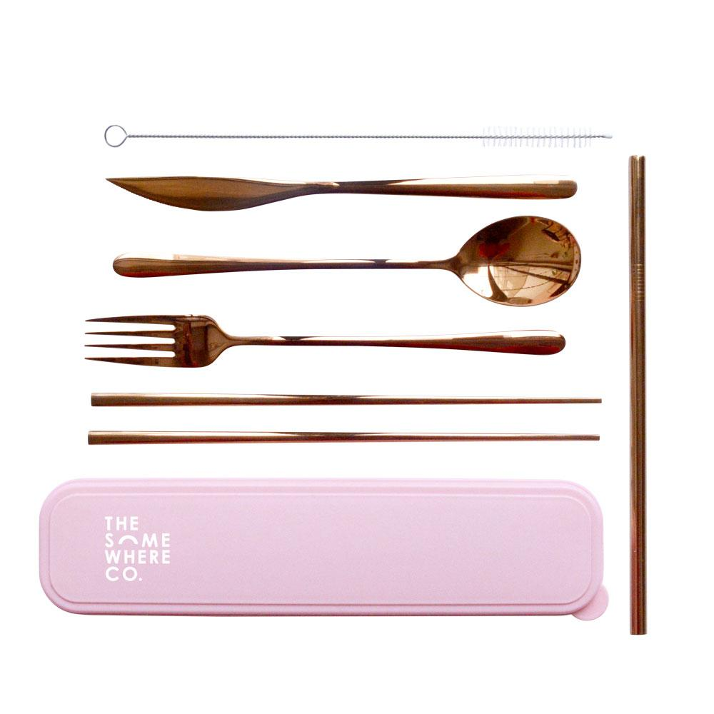 The Somewhere Co Take Me Away Cutlery Kit - Rose Gold (pink case)