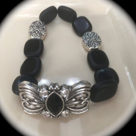 Matte Black and Silver Plated Stretch Bracelet