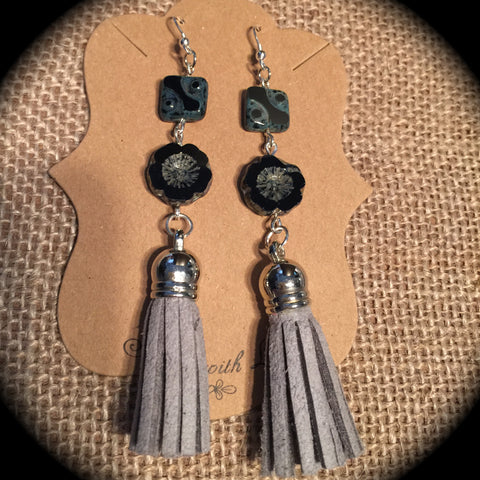 Drop Leather Tassel Earring Set