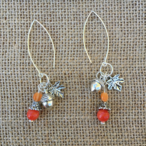 Beaded Autumn Hook Earrings