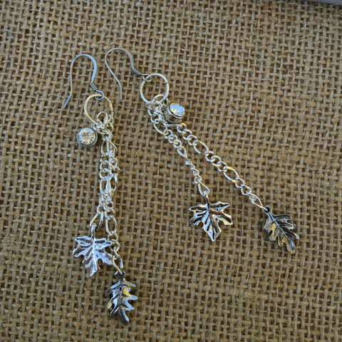"Falling Leaves Chandelier Earrings ""Maple & Oak Leaves"""