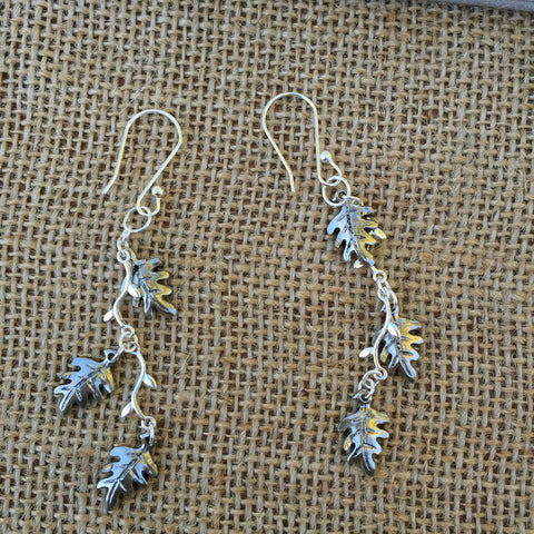 Elegant Silver Branch Earrings with Maple Leaves