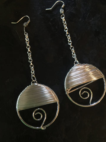Silver Wire Pendant Chain Earring Set
