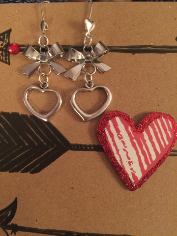 Open Heart Drop Earrings